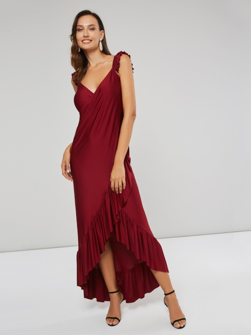 Christmas Asymmetric Sleeveless V-Neck Women's Maxi Dress