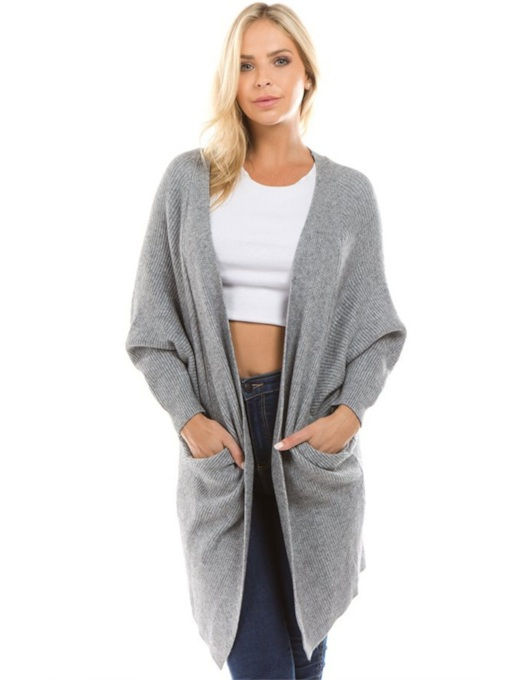 Loose Fit Pure Color Dual Pocket Women's Cardigan