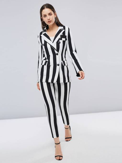 Lapel Double Breasted Blazer and Pants Women's Suit