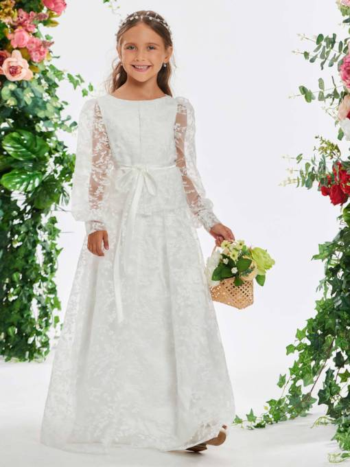 17d1ba5b654 Sashes Long Sleeve Lace Flower Girl Dress