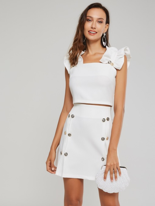 Ruffled Button Top and Skirt Women's Two Piece Set