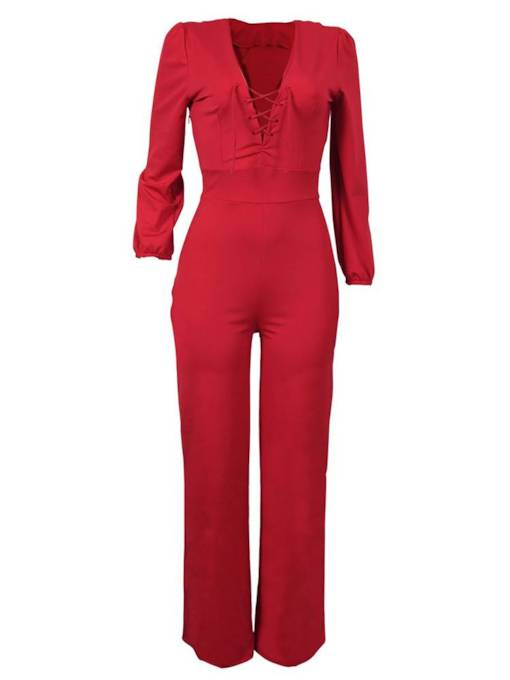 Long Sleeve V Neck Lace-Up Slim Women's Jumpsuit