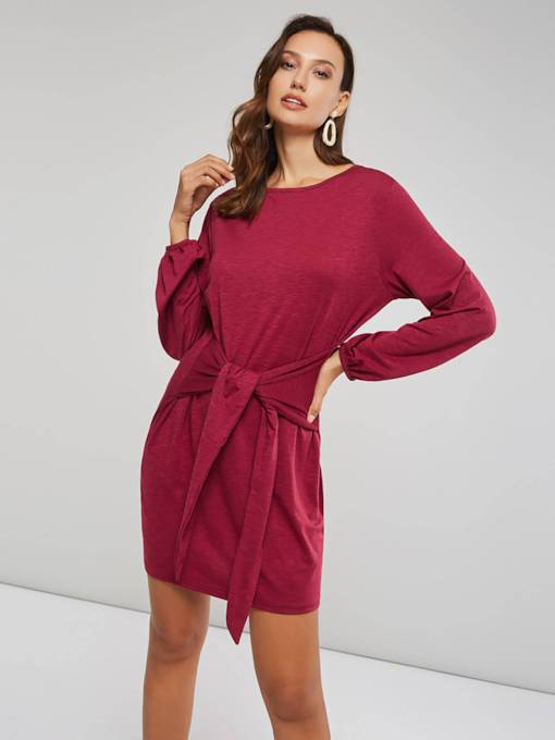 Pullover Lace-Up Women's Long Sleeve Dress