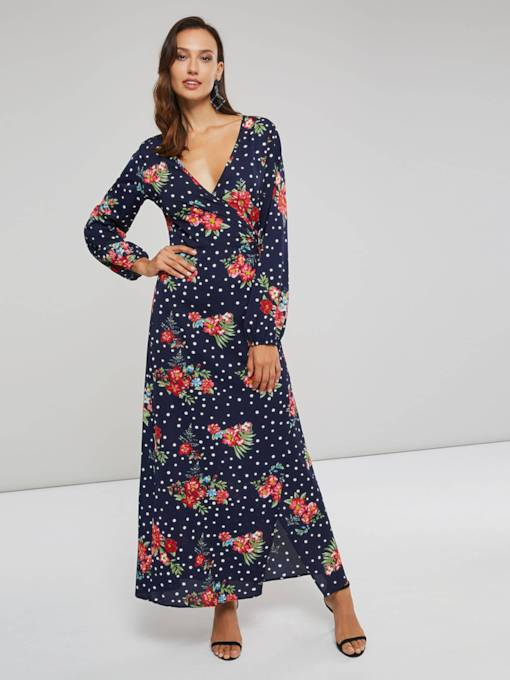 Floral V-Neck Long Sleeves Women's Maxi Dress