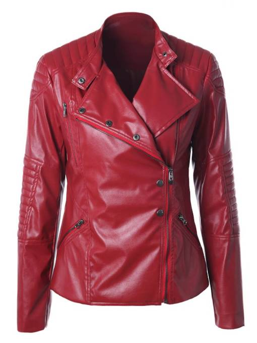 Irregular Zipper Up Notched Lapel Women's PU Jacket