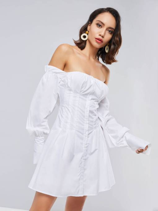 White Off Shoulder Women's Sexy Dress