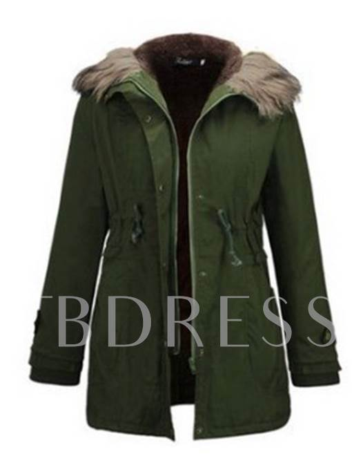 Hidden Drawstring Tight Waist Faux Fur Hooded Women's Cotton Padded Jacket