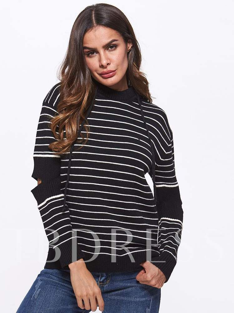 Buy Hollow Out Stripe Print Hooded Women's Sweater, Fall,Winter, 13414356 for $22.06 in TBDress store