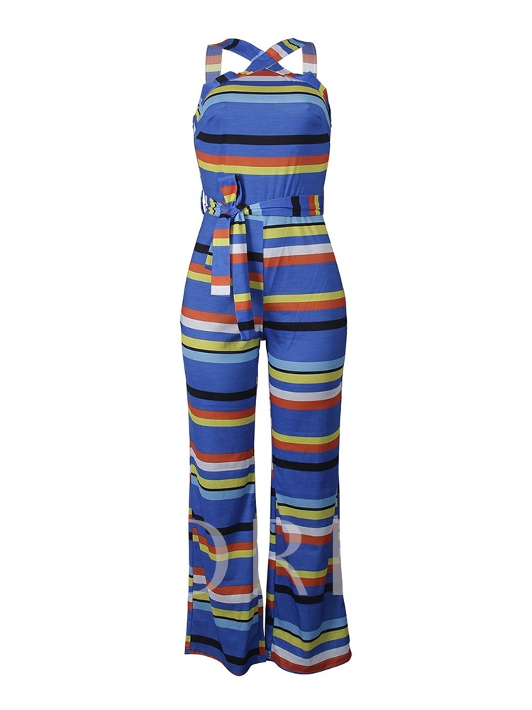 Cross Backless Lace-Up Striped Women's Jumpsuit