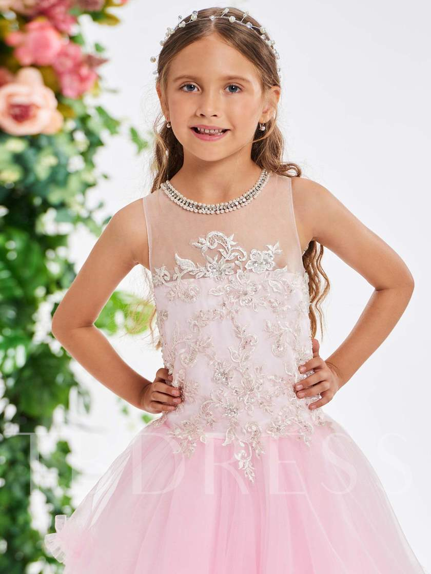 Jewel Neck Pearls Appliques Girl's Party Dress