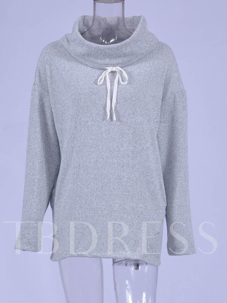 Heap Collar Mid Length Solid Color Women's Sweatshirt