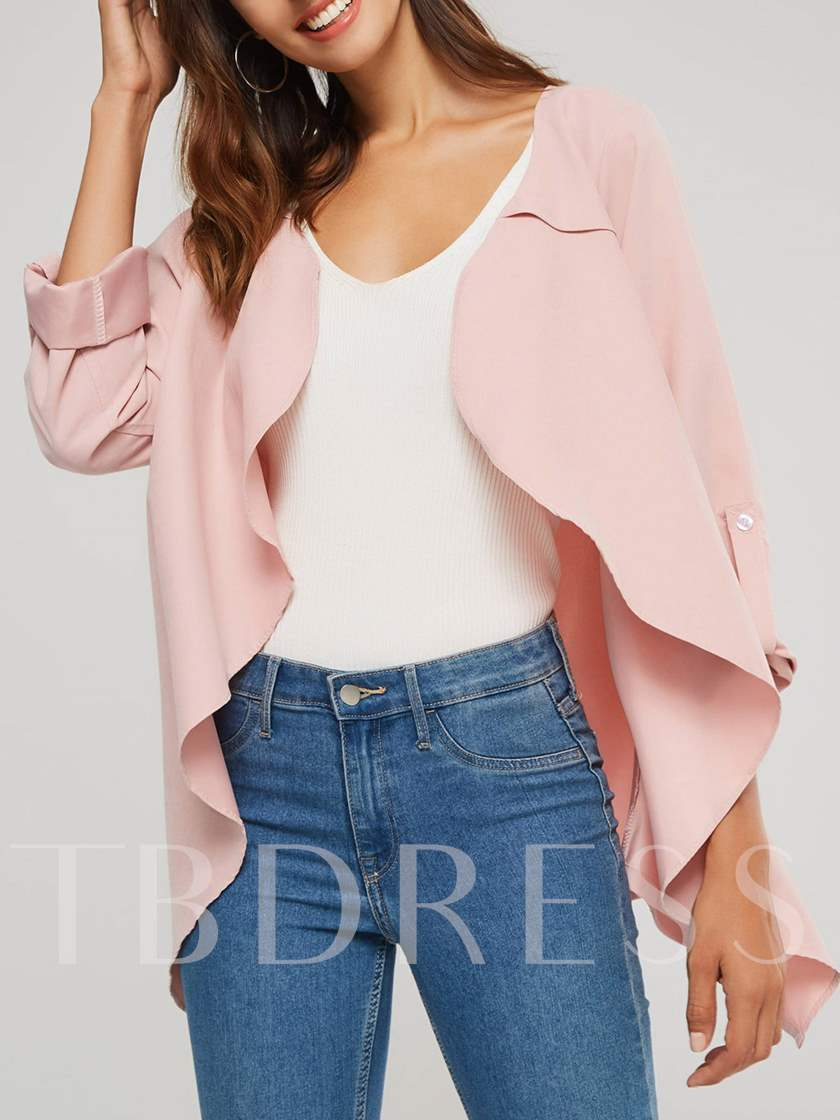 Open Front Mid Length Asymmetric Women's Trench Coat