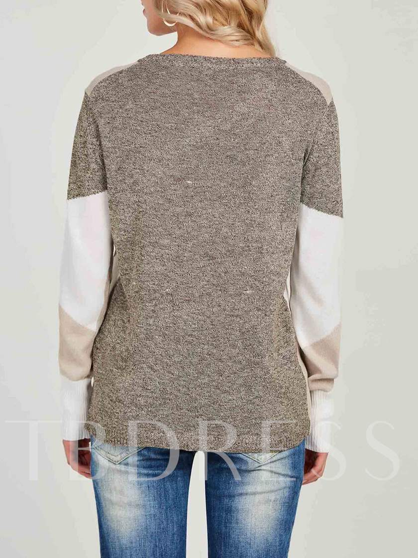Color Block Round Neck Slim Women's Sweater