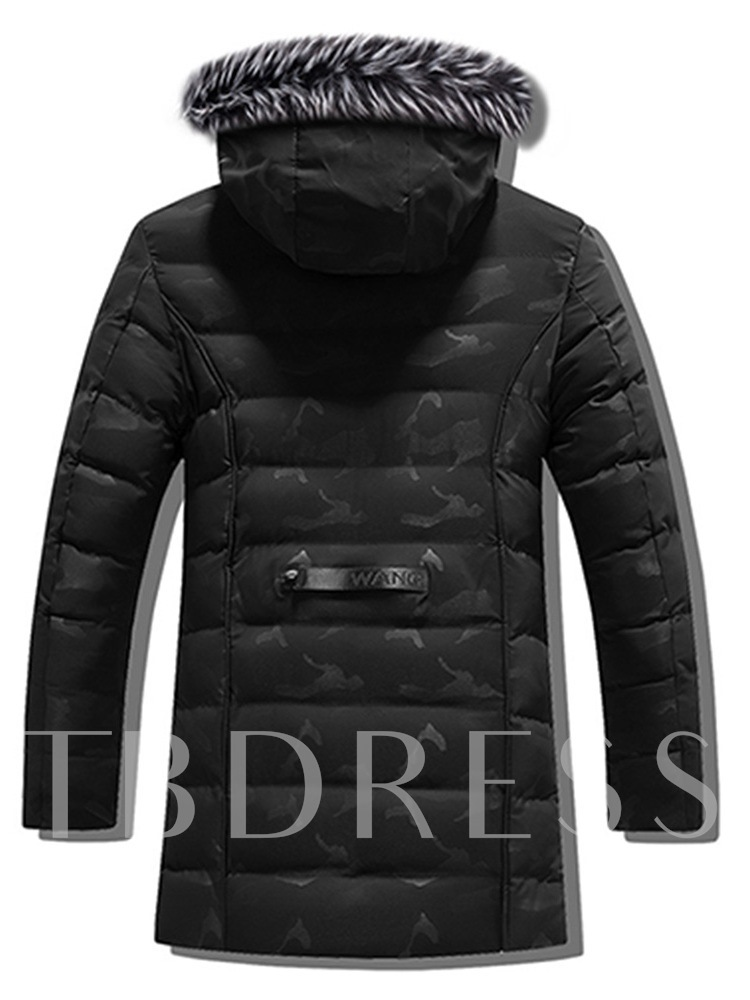 Hooded Camouflage Zipper Mid-Length Straight Men's Jacket