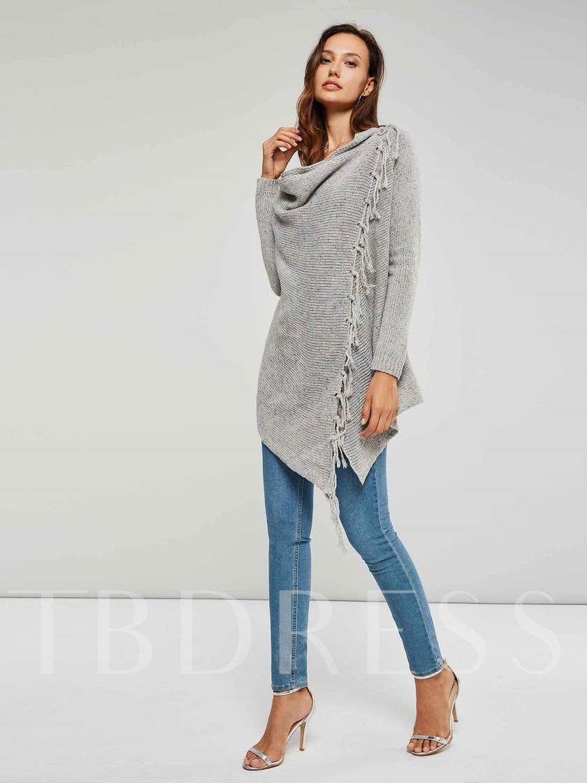 Tassel Mid Length One Button Women's Cardigan