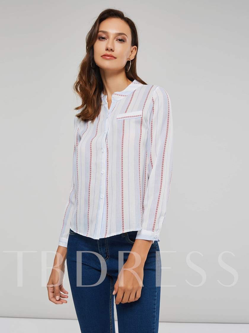 Pocket Stripe Contrast Color Single-Breasted Women's Shirt