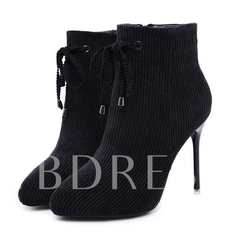 Buy Side Zipper Stiletto Heel Lace-Up Pointed Toe Women's Ankle Boots, Spring,Fall,Winter, 13413446 for $56.43 in TBDress store