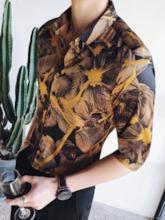 Three Quarter Sleeve Gold Print Men's Shirt