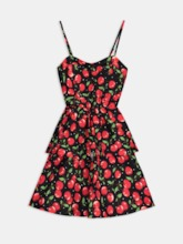 Strappy Printing Tiered Women's Day Dress
