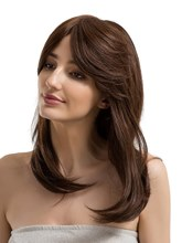 Long Wavy Cut One Side Part Bangs Human Hair Capless Wig
