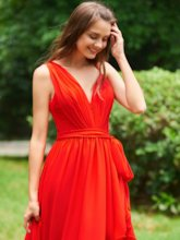 Straps Sashes High Low Pleats Red Cocktail Dress