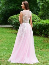 A-Line Empire Button Scoop Appliques Prom Dress