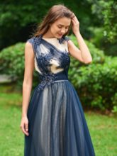 A-Line Appliques Beading Scoop Long Prom Dress