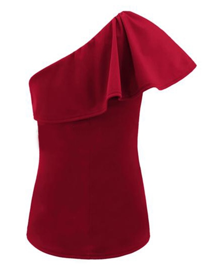 One Shoulder Off Ruffle Sleeve Slim Women's Blouse