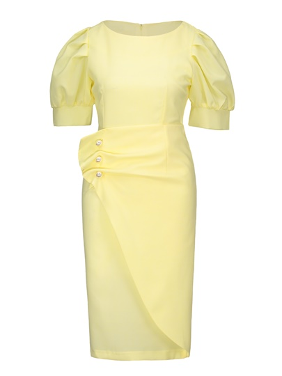 Yellow Puff Sleeve Women's Bodycon Dress