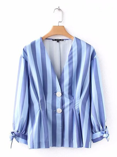 Stripe Pleated Button V-Neck Women's Blouse