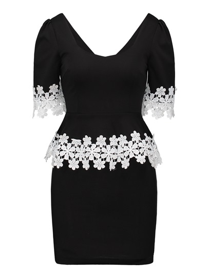 Lace Patchwork Double-Layered Women's Bodycon Dress