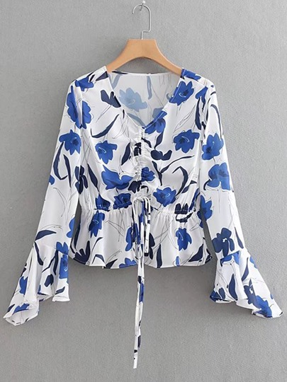 Ruffle Sleeve Floral Lace-Up Women's Blouse