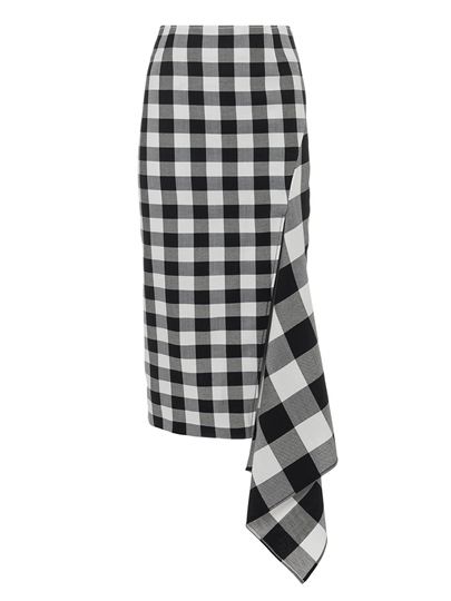 Gingham Print Patchwork Bodycon Women's Skirt