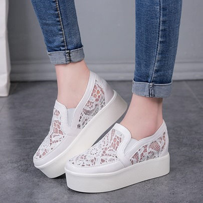 Lace Patchwork Mesh Slip-On Casual Ladylike Women's Loafers