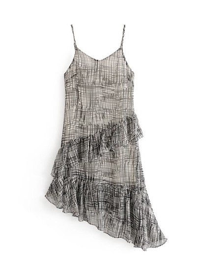 Black Strappy Asym Women's Sexy Dress