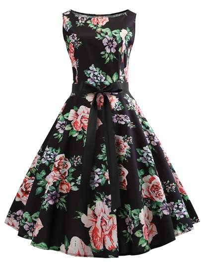 Lace up Sleeveless Floral Women's Day Dress
