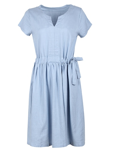 Lace up Short Sleeve Women's Day Dress