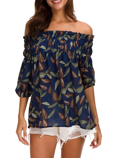 Off Shoulder Floral Printed Stretchy Women's Blouse