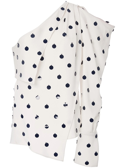 Asymmetric Polka Dot One Shoulder Off Women's Blouse