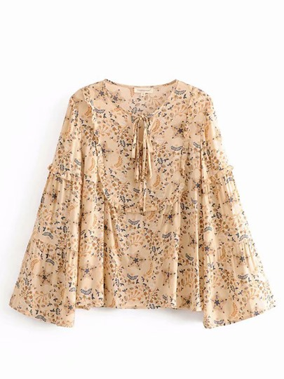 Bell Sleeve Tie Neck Mixed Print Women's Blouse