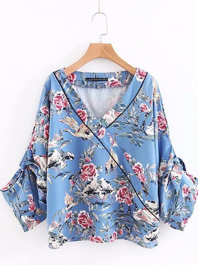 Pleated Wrapped Floral Animal Printed Women's Blouse
