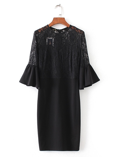 Lace Patchwork Bell Sleeve Women's Day Dress