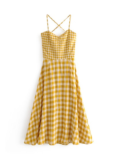 Yellow Backless Plaid Women's Day Dress