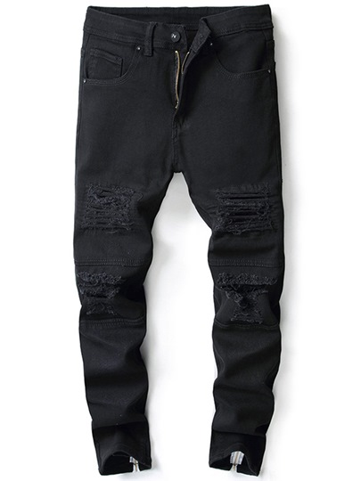 Elastic Zipper Hole Men's Jeans
