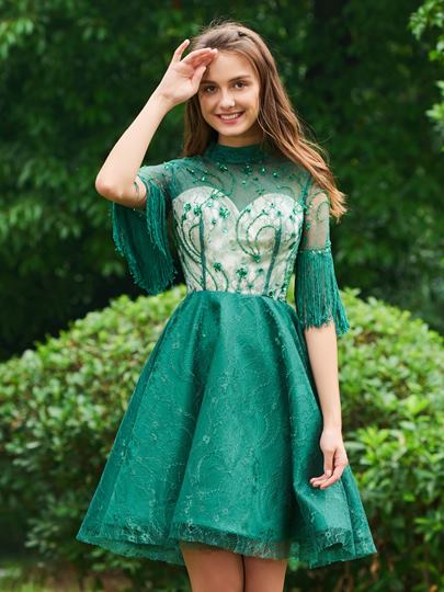 A-Line High Neck Lace Beading Tassel Cocktail Dress