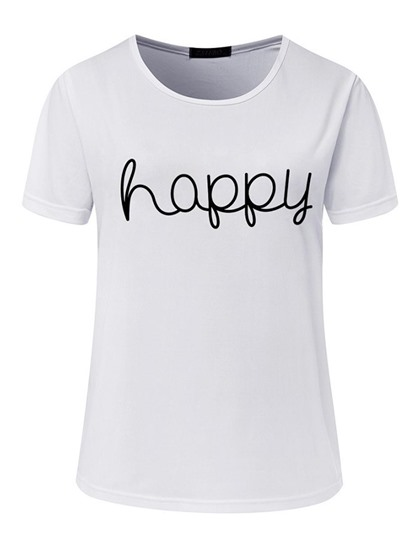 Simple Letter Print Round Neck Women's T-Shirt