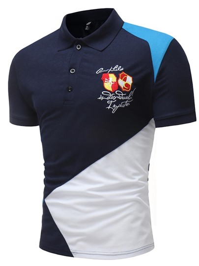 Lapel Patchwork Embroidery Men's Polo