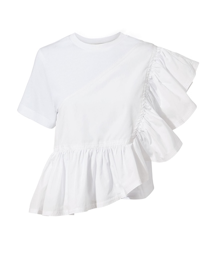 Ruffle Solid Color Short Sleeve Women's T-Shirt
