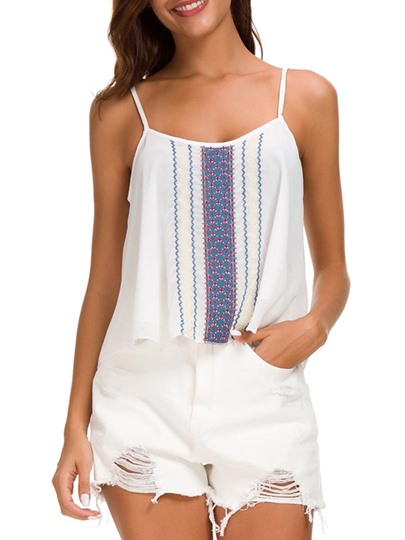 Leisure Embroidery Straps Women's Tank Top