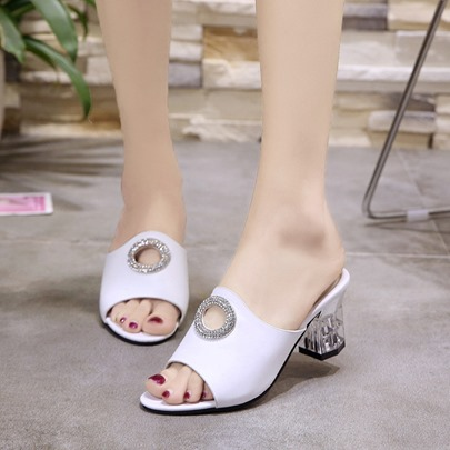 Chunky Heel Circle Hollow Casual Flip Flop for Women